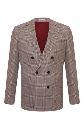 Мужской пиджак из шерсти и шелка BRUNELLO CUCINELLI бежевого цвета, арт. MQ4267BBD | Фото 1