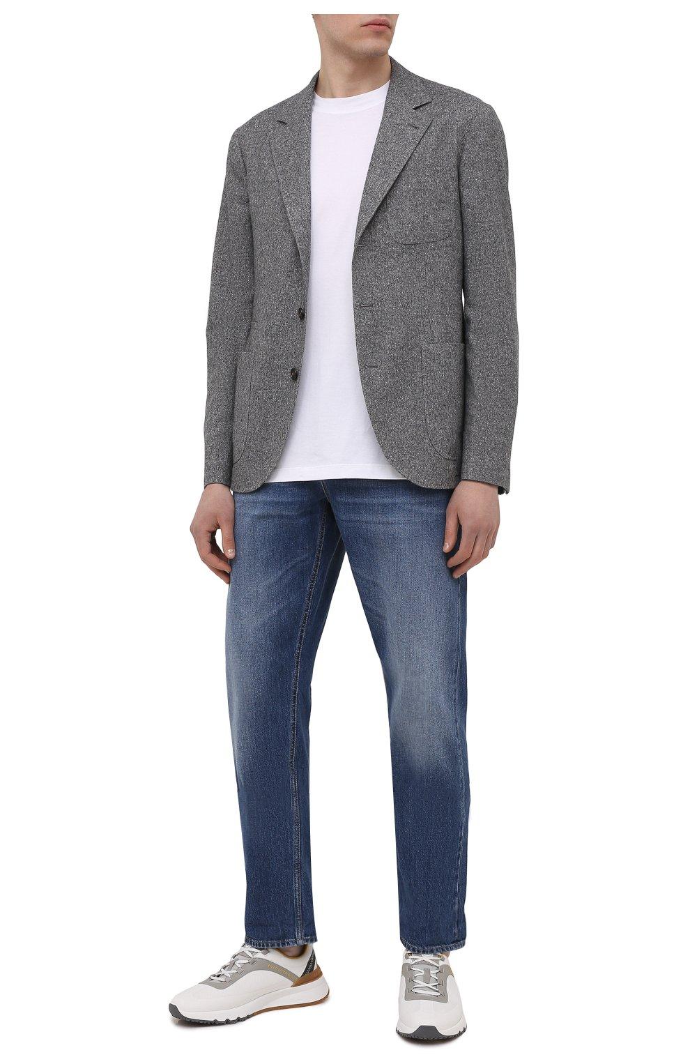 Мужской пиджак из шерсти и шелка BRUNELLO CUCINELLI серого цвета, арт. MQ4347BND   Фото 2