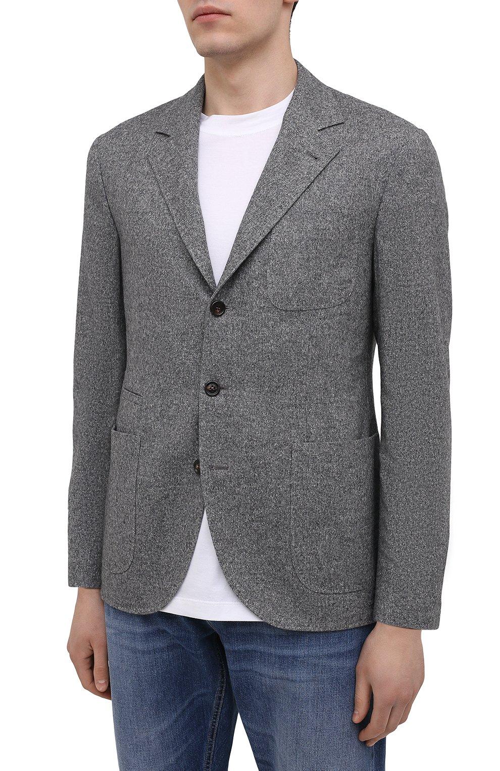 Мужской пиджак из шерсти и шелка BRUNELLO CUCINELLI серого цвета, арт. MQ4347BND   Фото 3