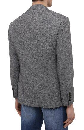 Мужской пиджак из шерсти и шелка BRUNELLO CUCINELLI серого цвета, арт. MQ4347BND   Фото 4