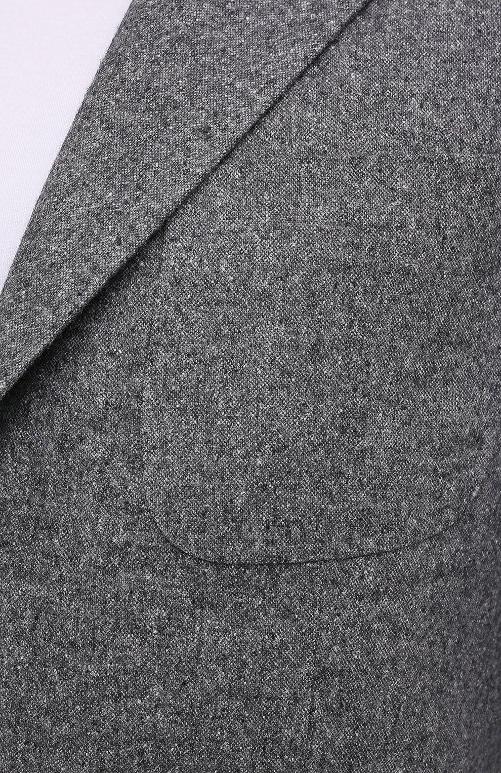 Мужской пиджак из шерсти и шелка BRUNELLO CUCINELLI серого цвета, арт. MQ4347BND   Фото 5