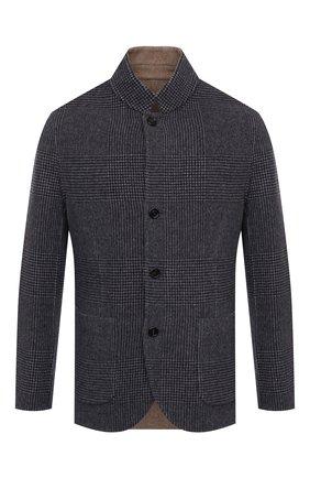 Мужской двустороннее пальто из шерсти и кашемира BRUNELLO CUCINELLI серого цвета, арт. MQ4399920 | Фото 1 (Материал внешний: Шерсть; Длина (верхняя одежда): Короткие; Рукава: Длинные; Стили: Кэжуэл; Мужское Кросс-КТ: пальто-верхняя одежда)