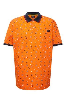 Мужское хлопковое поло PAUL&SHARK оранжевого цвета, арт. 21411256/C00/3XL-6XL | Фото 1