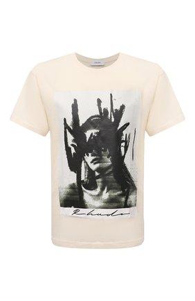 Мужская хлопковая футболка RHUDE светло-бежевого цвета, арт. RHPS21TT00000006 | Фото 1