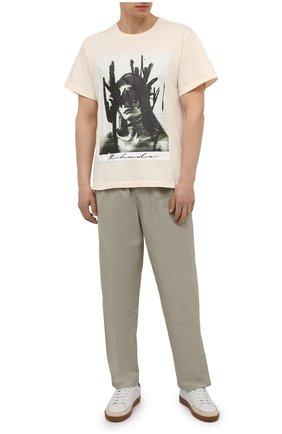 Мужская хлопковая футболка RHUDE светло-бежевого цвета, арт. RHPS21TT00000006 | Фото 2