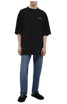 Мужские текстильные сабо BALENCIAGA черного цвета, арт. 644760/W29Z1 | Фото 2 (Материал внутренний: Текстиль; Материал внешний: Текстиль)