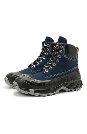 Мужские комбинированные ботинки BURBERRY темно-синего цвета, арт. 8038337 | Фото 1 (Материал внутренний: Натуральная кожа; Мужское Кросс-КТ: Ботинки-обувь; Подошва: Плоская; Материал внешний: Текстиль)