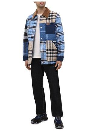Мужские комбинированные ботинки BURBERRY темно-синего цвета, арт. 8038337 | Фото 2 (Материал внутренний: Натуральная кожа; Мужское Кросс-КТ: Ботинки-обувь; Подошва: Плоская; Материал внешний: Текстиль)