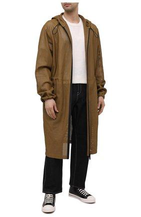 Мужские кожаные кеды BURBERRY черного цвета, арт. 8039065 | Фото 2