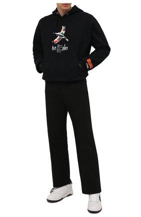 Мужской хлопковое худи HERON PRESTON черного цвета, арт. HMBB017S21JER0041001 | Фото 2 (Принт: С принтом; Стили: Гранж; Рукава: Длинные; Длина (для топов): Стандартные; Материал внешний: Хлопок; Мужское Кросс-КТ: Худи-одежда)