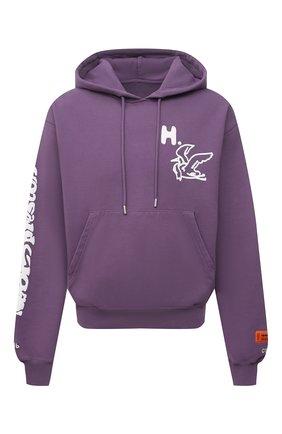 Мужской хлопковое худи HERON PRESTON фиолетового цвета, арт. HMBB017S21JER0013501   Фото 1