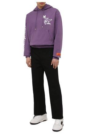 Мужской хлопковое худи HERON PRESTON фиолетового цвета, арт. HMBB017S21JER0013501   Фото 2