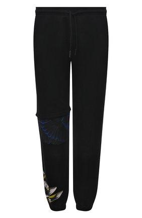Мужские хлопковые джоггеры MARCELO BURLON черного цвета, арт. CMCH028S21FLE001 | Фото 1 (Силуэт М (брюки): Джоггеры; Длина (брюки, джинсы): Стандартные; Мужское Кросс-КТ: Брюки-трикотаж; Материал внешний: Хлопок; Стили: Спорт-шик)