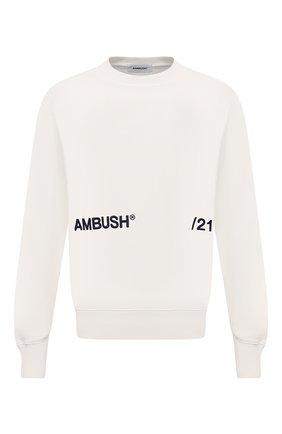 Мужской хлопковый свитшот AMBUSH белого цвета, арт. BMBA005S21FLE001 | Фото 1
