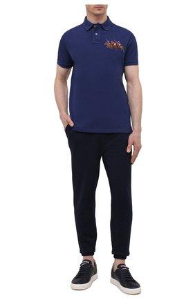 Мужское хлопковое поло POLO RALPH LAUREN синего цвета, арт. 710814437 | Фото 2
