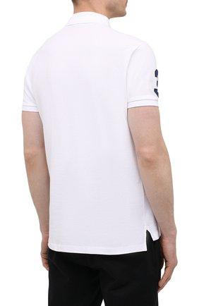 Мужское хлопковое поло POLO RALPH LAUREN белого цвета, арт. 710814437 | Фото 4
