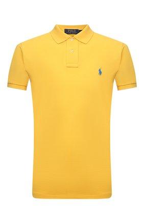 Мужское хлопковое поло POLO RALPH LAUREN желтого цвета, арт. 710795080 | Фото 1