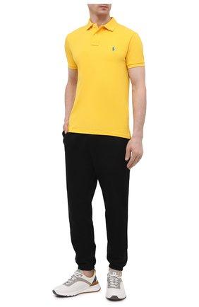 Мужское хлопковое поло POLO RALPH LAUREN желтого цвета, арт. 710795080 | Фото 2