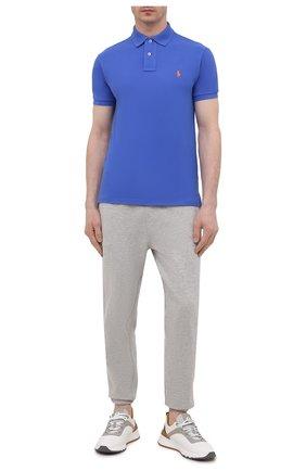 Мужское хлопковое поло POLO RALPH LAUREN синего цвета, арт. 710795080 | Фото 2