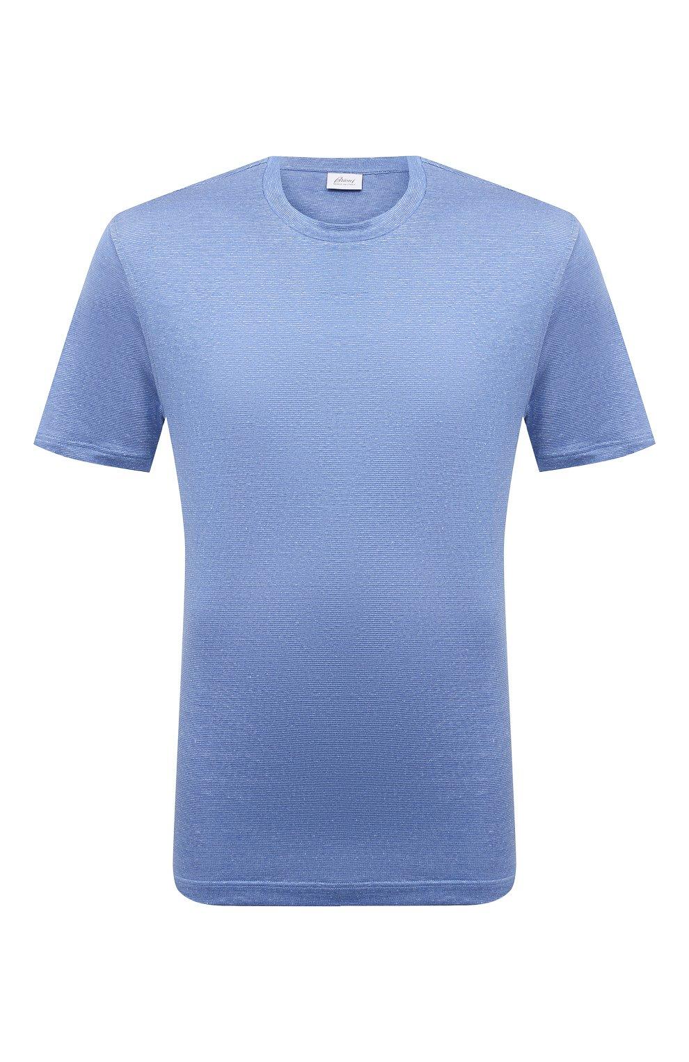 Мужская футболка изо льна и шелка BRIONI синего цвета, арт. UJHI0L/P0609 | Фото 1