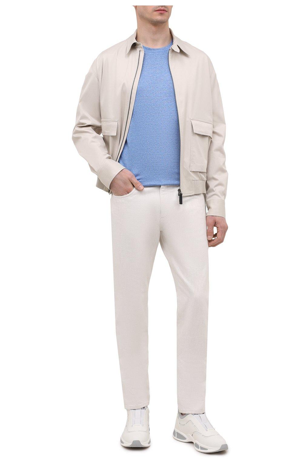 Мужская футболка изо льна и шелка BRIONI синего цвета, арт. UJHI0L/P0609 | Фото 2