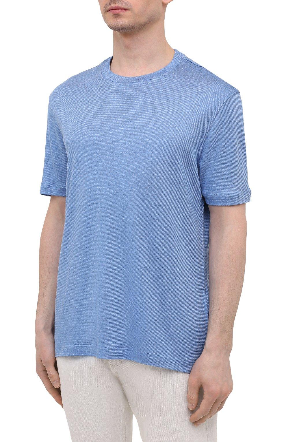 Мужская футболка изо льна и шелка BRIONI синего цвета, арт. UJHI0L/P0609 | Фото 3