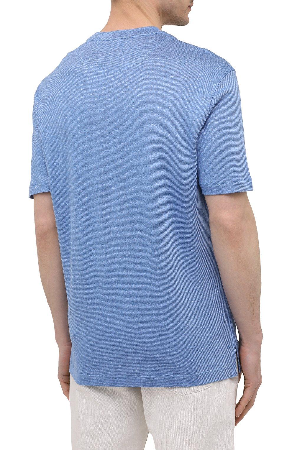 Мужская футболка изо льна и шелка BRIONI синего цвета, арт. UJHI0L/P0609 | Фото 4