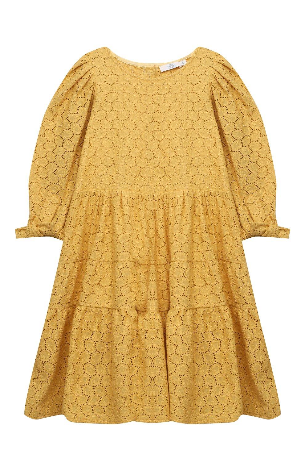 Детское хлопковое платье ZHANNA & ANNA желтого цвета, арт. ZAY03032021   Фото 1