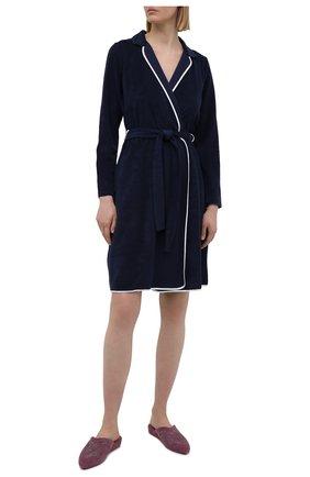 Женский хлопковый халат LE CHAT темно-синего цвета, арт. ESSENTIELE61A | Фото 2