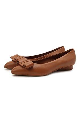 Женские кожаные балетки SALVATORE FERRAGAMO светло-коричневого цвета, арт. Z-07305991C | Фото 1