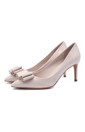 Женские кожаные туфли SALVATORE FERRAGAMO светло-бежевого цвета, арт. Z-07410021C   Фото 1