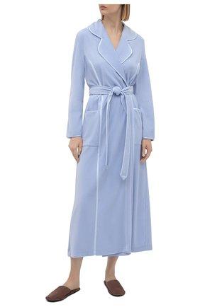 Женский хлопковый халат LOUISFERAUD светло-голубого цвета, арт. 3883035   Фото 2