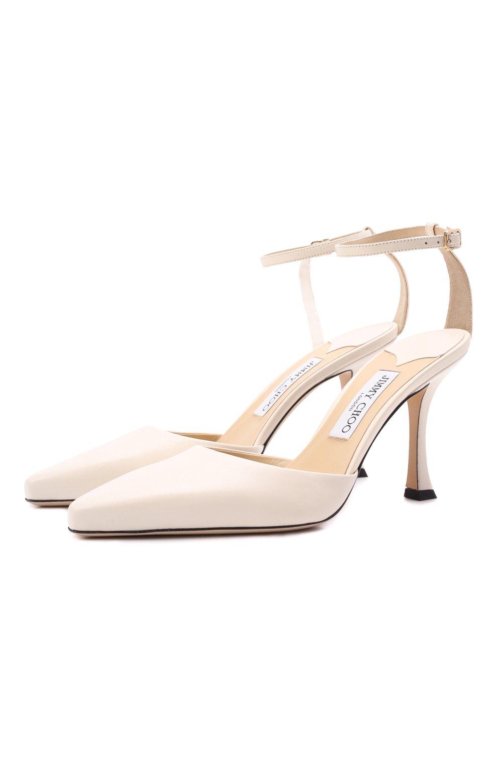 Женские кожаные туфли mair 90 JIMMY CHOO кремвого цвета, арт. MAIR 90/NAP   Фото 1 (Каблук высота: Высокий; Материал внутренний: Натуральная кожа; Каблук тип: Шпилька; Подошва: Плоская)