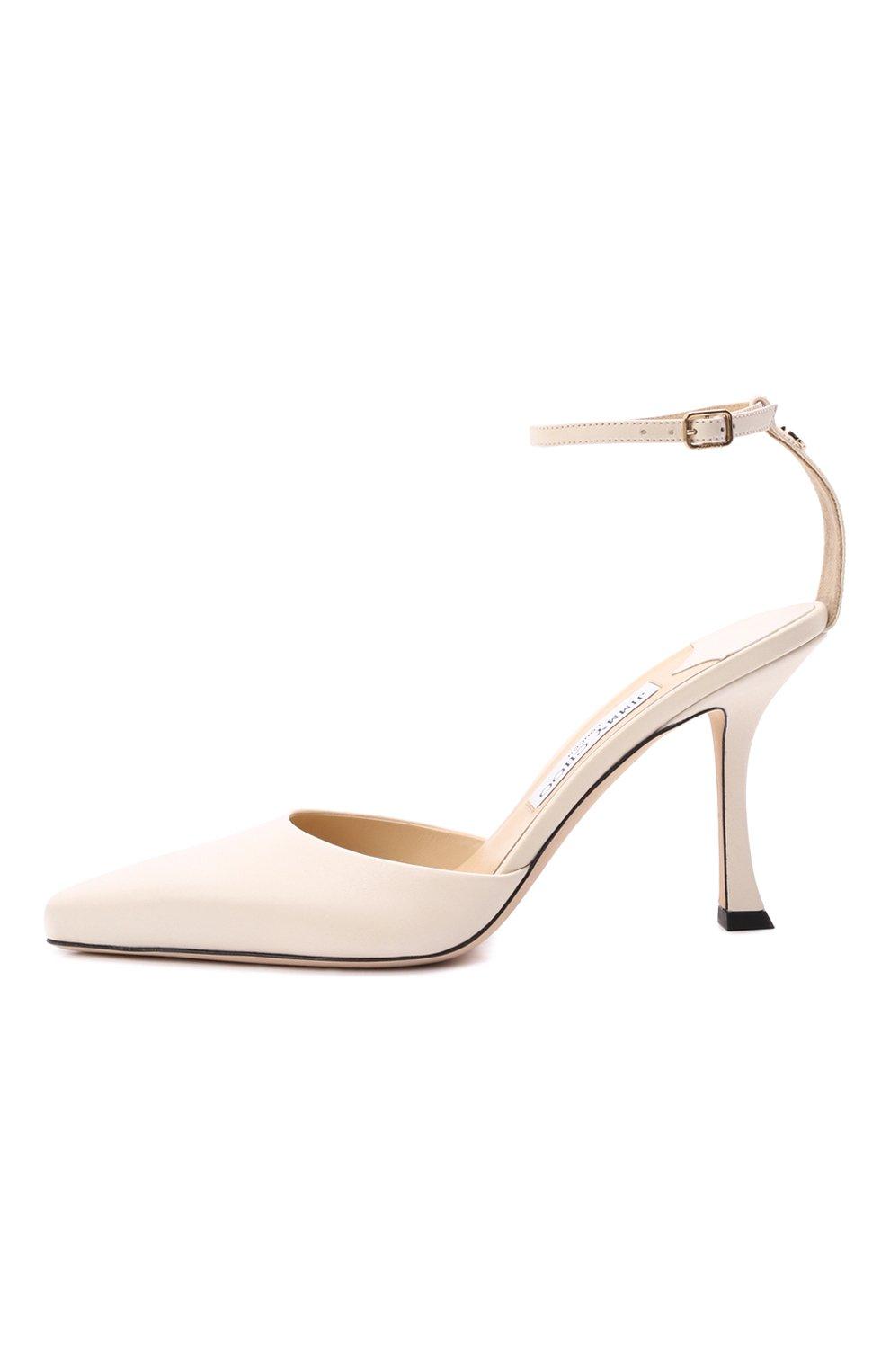 Женские кожаные туфли mair 90 JIMMY CHOO кремвого цвета, арт. MAIR 90/NAP   Фото 3 (Каблук высота: Высокий; Материал внутренний: Натуральная кожа; Каблук тип: Шпилька; Подошва: Плоская)