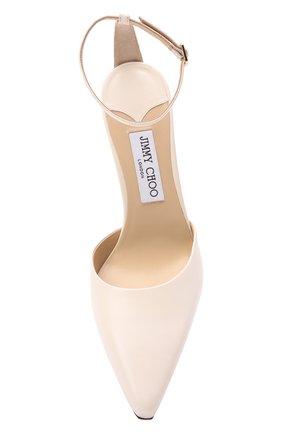 Женские кожаные туфли mair 90 JIMMY CHOO кремвого цвета, арт. MAIR 90/NAP   Фото 5 (Каблук высота: Высокий; Материал внутренний: Натуральная кожа; Каблук тип: Шпилька; Подошва: Плоская)