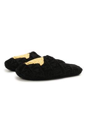 Женского текстильные тапочки logomania VERSACE черного цвета, арт. ZSLB00004/ZC0SP052   Фото 1