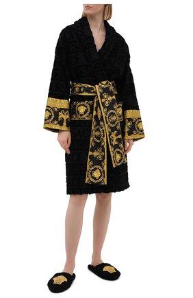 Женского текстильные тапочки logomania VERSACE черного цвета, арт. ZSLB00004/ZC0SP052   Фото 2