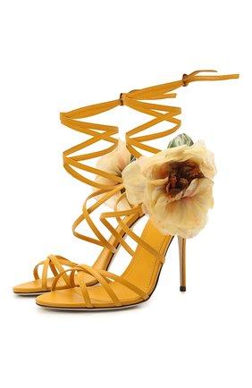 Женские кожаные босоножки keira DOLCE & GABBANA желтого цвета, арт. CR1153/A0649 | Фото 1 (Каблук тип: Шпилька; Материал внутренний: Натуральная кожа; Каблук высота: Высокий; Подошва: Плоская)
