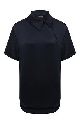 Женская шелковая блузка GIORGIO ARMANI темно-синего цвета, арт. 1WHCC01I/T02MU | Фото 1