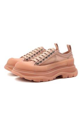 Женская текстильные ботинки tread slick ALEXANDER MCQUEEN светло-розового цвета, арт. 658080/W4Q31 | Фото 1 (Материал внешний: Текстиль; Каблук высота: Низкий; Материал внутренний: Натуральная кожа; Подошва: Платформа)