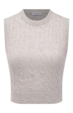 Женский жилет BRUNELLO CUCINELLI серого цвета, арт. MBG743410P   Фото 1