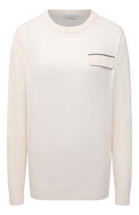 Женский кашемировый пуловер BRUNELLO CUCINELLI молочного цвета, арт. M12170400P | Фото 1 (Материал внешний: Шерсть, Кашемир; Длина (для топов): Стандартные; Стили: Кэжуэл; Рукава: Длинные; Женское Кросс-КТ: Пуловер-одежда)