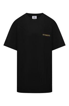 Женская хлопковая футболка VETEMENTS черного цвета, арт. UA52TR240B 1602/W   Фото 1
