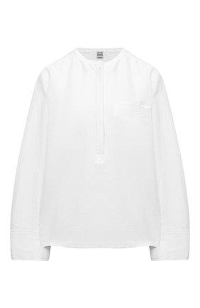 Женская льняная блузка TOTÊME белого цвета, арт. 212-748-723 | Фото 1 (Рукава: Длинные; Длина (для топов): Стандартные; Материал внешний: Лен, Вискоза; Женское Кросс-КТ: Блуза-одежда; Стили: Бохо; Принт: Без принта)