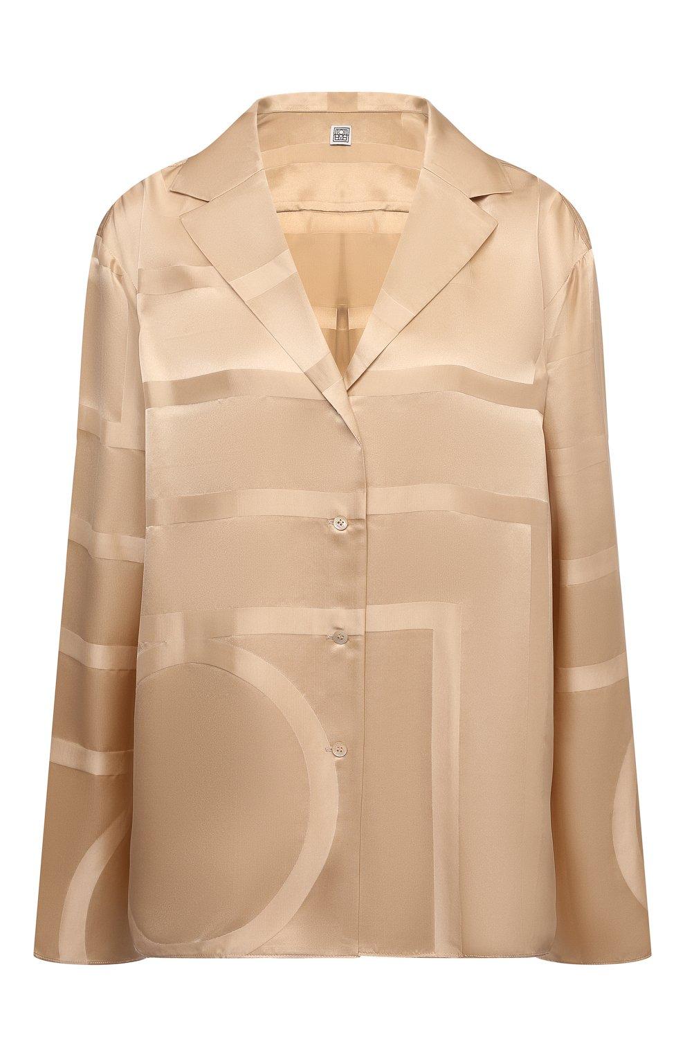 Женская шелковая рубашка TOTÊME светло-коричневого цвета, арт. 212-755-724 | Фото 1