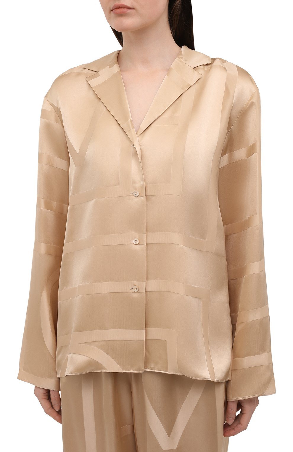 Женская шелковая рубашка TOTÊME светло-коричневого цвета, арт. 212-755-724 | Фото 3