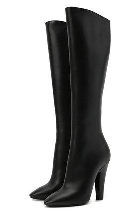 Женские кожаные сапоги 68 SAINT LAURENT черного цвета, арт. 657922/2W700 | Фото 1 (Высота голенища: Средние; Материал внутренний: Натуральная кожа; Каблук тип: Устойчивый; Подошва: Плоская; Каблук высота: Высокий)
