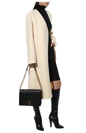 Женские кожаные сапоги 68 SAINT LAURENT черного цвета, арт. 657922/2W700 | Фото 2 (Высота голенища: Средние; Материал внутренний: Натуральная кожа; Каблук тип: Устойчивый; Подошва: Плоская; Каблук высота: Высокий)