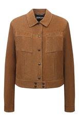 Женская замшевая куртка SAINT LAURENT коричневого цвета, арт. 652421/YCAU2 | Фото 1 (Длина (верхняя одежда): Короткие; Рукава: Длинные; Материал подклада: Купро; Стили: Кэжуэл; Женское Кросс-КТ: Замша и кожа; Кросс-КТ: Куртка; Материал внешний: Замша)