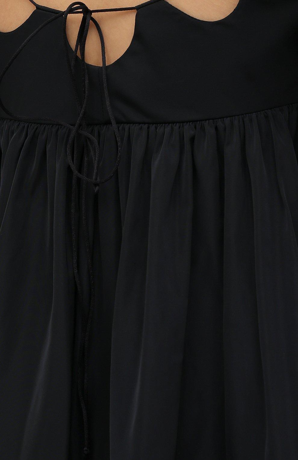 Женское платье CECILIE BAHNSEN черного цвета, арт. SS21.01-0004   Фото 5 (Случай: Повседневный; Материал внешний: Синтетический материал; Материал подклада: Синтетический материал; Длина Ж (юбки, платья, шорты): До колена; Рукава: 3/4; Стили: Бохо; Женское Кросс-КТ: Платье-одежда)